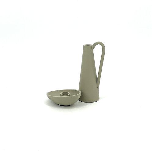 Luxe set van 2 kaarsenhouders (beige)