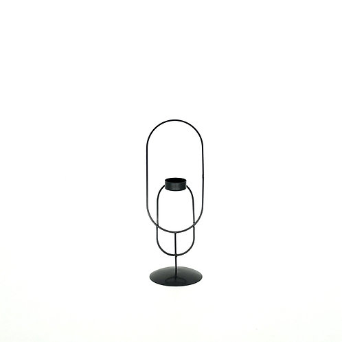 Kaarsenhouder zwart met ovale ringen