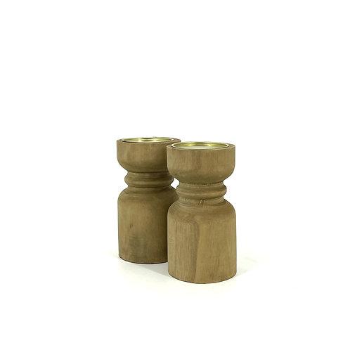 Houten kaarsenhouders, set van 2, Maat M