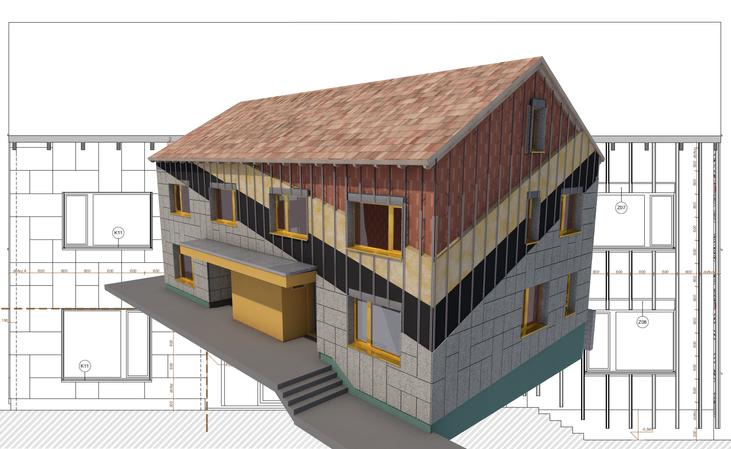 BIM Pilot #01: Realizace fasády z Heraklithu. Nejprve vzniklo digitální dvojče