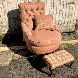 Deep button chair, cushion & footstool