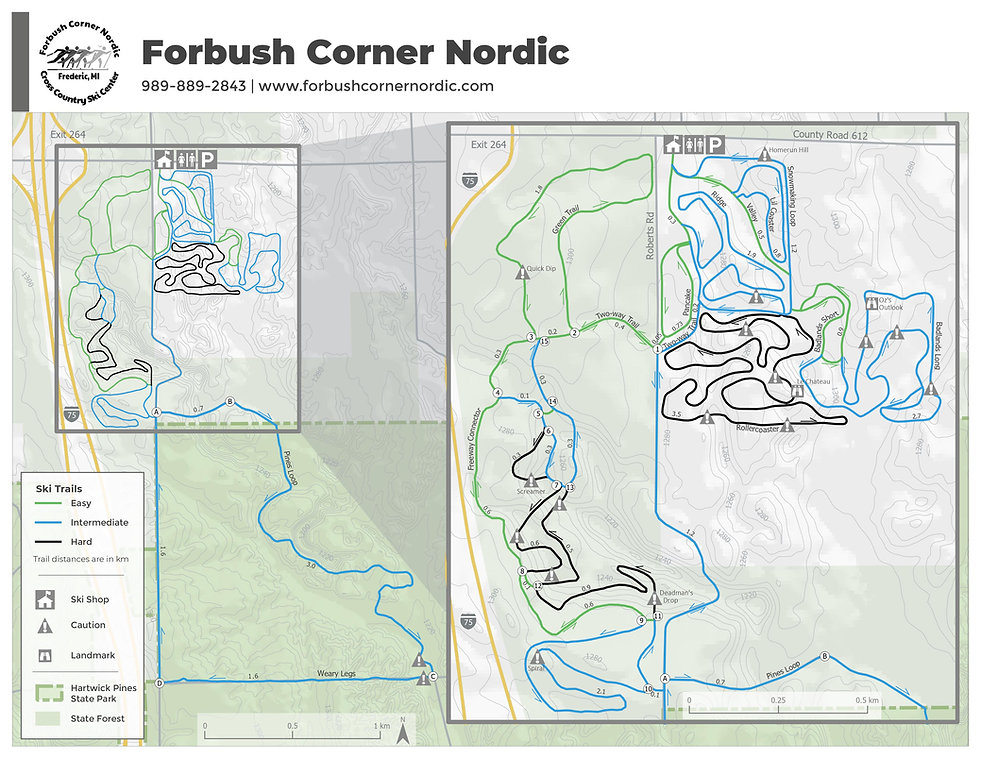 Forbush Corner Nordic trail map 10-31-20