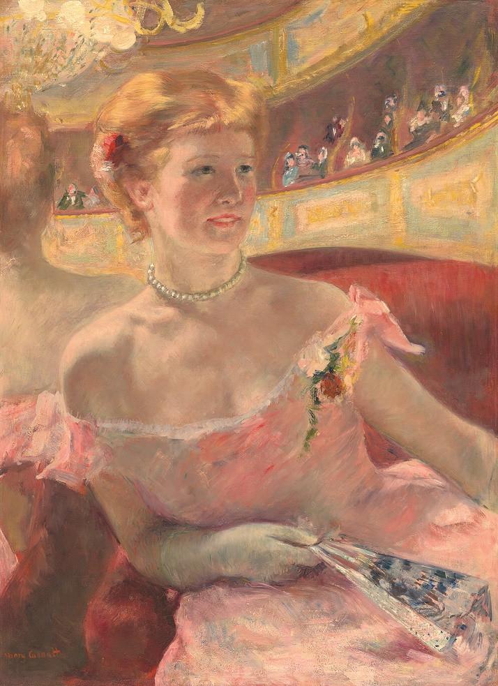 מרי קאסאט  אישה עם מחרוזת פנינים בתא תיאטרון 1879