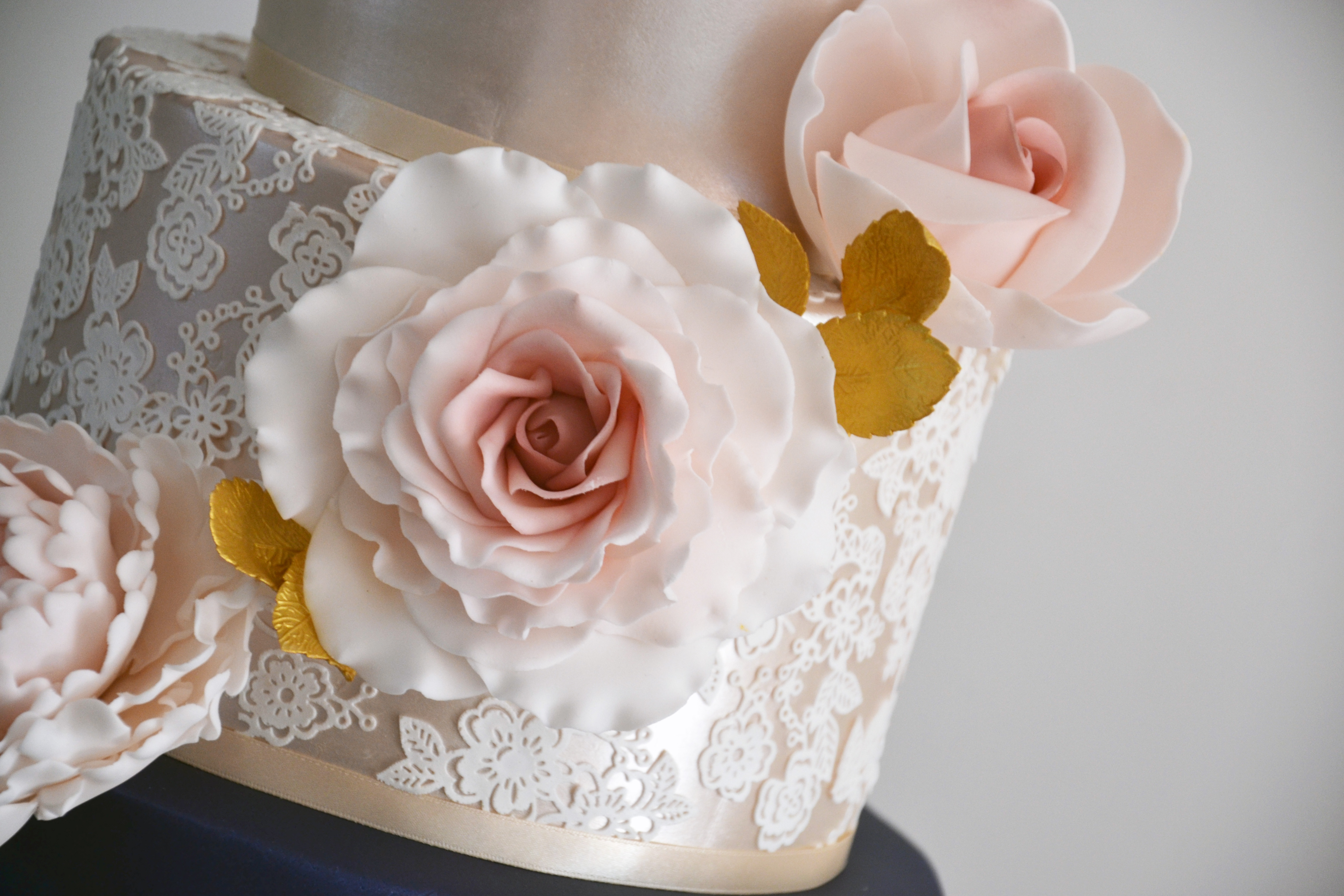 Handmade roses and edible lace