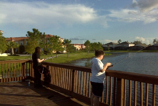 Fishing off the resort walkway