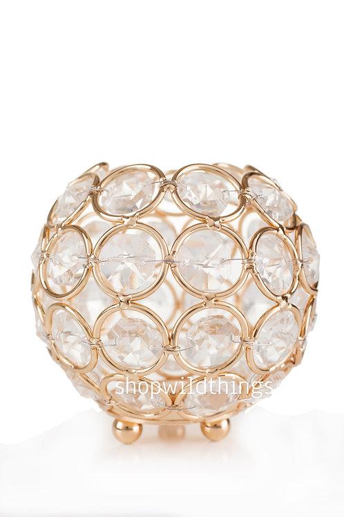 Mini cristal candel boll silver