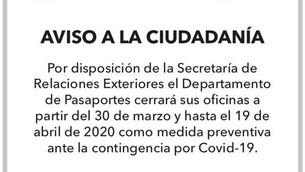 Pandemia obligó a cerrar oficina de expedición de Pasaportes en Texcoco