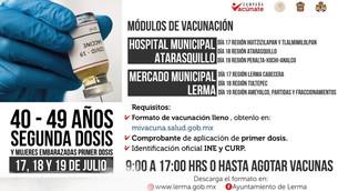 Todo listo en Lerma para aplicar segunda dosis de vacuna anticovid a personas de 40 a 49 años