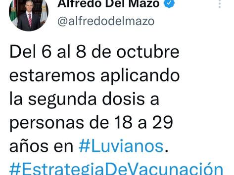 Anuncia Del Mazo arranque de vacunación contra covid en Luvianos, para sector de 18 a 29 años