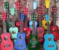 colorful ukuleles