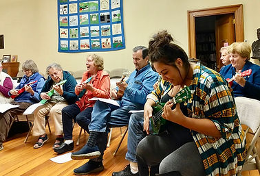 ukulele group having fun