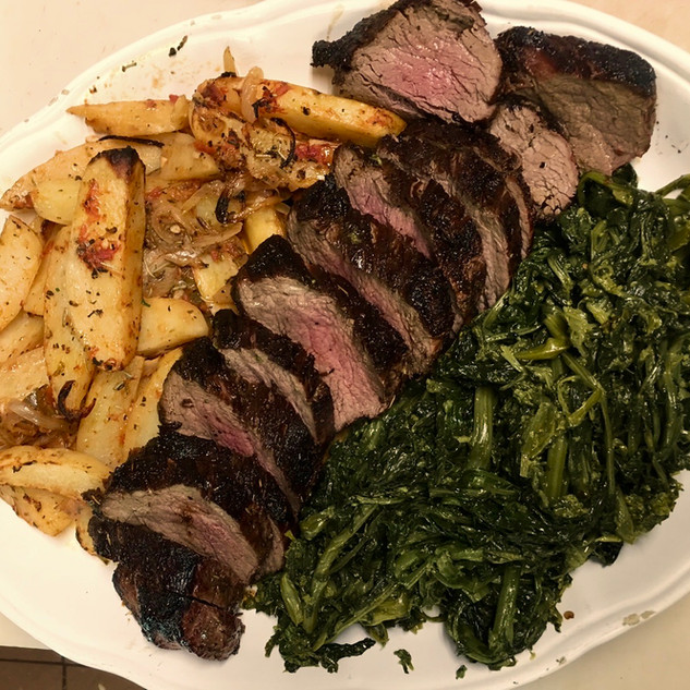 Beef Tenderloin with Broccoli Rabe and Roasted Potatoes