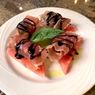 Figs with Goat Cheese, Prosciutto, and fresh Watermelon