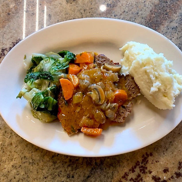 Homestyle Meatloaf with Horseradish Mashed Potatoes and Escarole