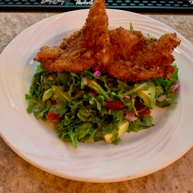Panko breaded Jumbo Shrimp over Avocado Salad