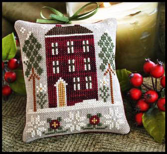 CATS Red House in Winter by Little House Needleworks
