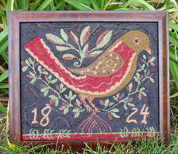 1824 Valentine Bird (Punchneedle) by Carriage House Samplings