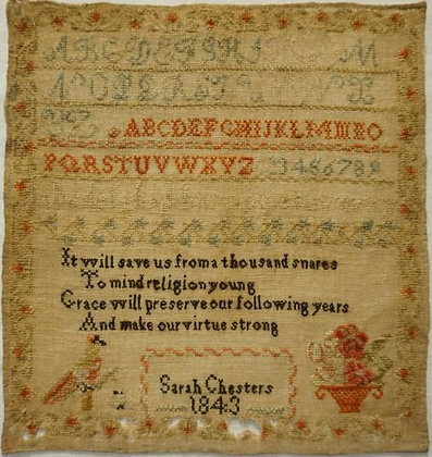 Sarah Chesters 1843 Antique Sampler by Cross Stitch Antiques