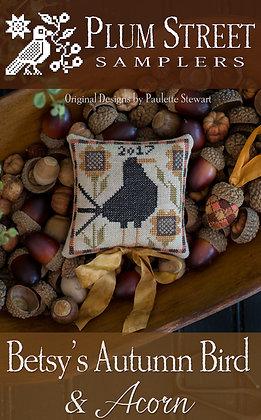 Betsy's Autumn Bird & Acorn by Plum Street Samplers
