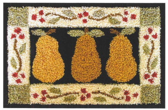 CATS Folk Art Pears (punchneedle chart) by Little House Needleworks