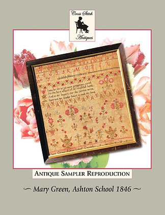 Mary Green, Ashton School 1846 Antique Sampler by Cross Stitch Antiques