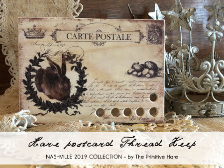 *Hare Postcard Thread Keep by The Primitive Hare