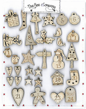 Advent Calendar 24 Buttons Cream by The Bee Company NO1
