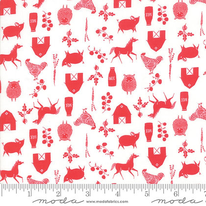 48294 14 Farm Charm Cloud Rooster Red by Gingiber for Moda