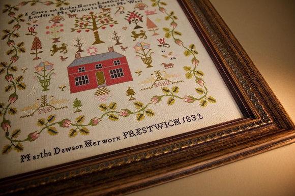 Martha Dawson 1832: A Little Gem by Hands Across the Sea Samplers