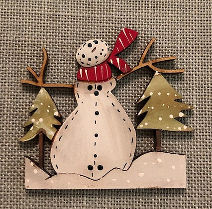 *Snowman Amongst the Trees Button by Theodora Cleave
