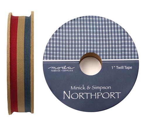 "Patriotic Vintage 1"" Northport Twill Tape by Minnick & Simpson/Moda"