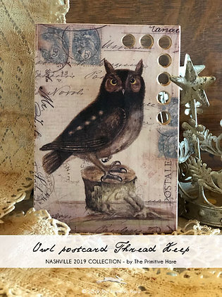 Owl Postcard Thread Keep by The Primitive Hare