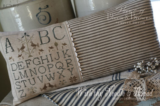 House of Blues and Browns Sampler Pillow by With Thy Needle & Thread