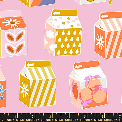 Clementine Peony Milk Cartons w/ Pink Background Fabric by Ruby Star Society