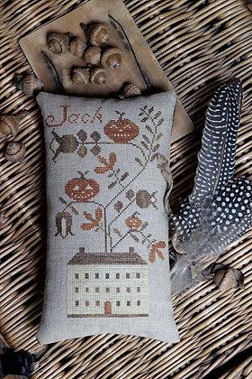 Jack's House Pinkeep cross stitch chart by Stacy Nash Primitives