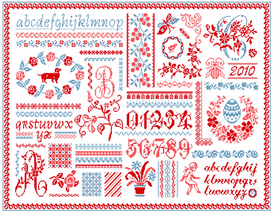 Blue & Red Sampler by Marjorie Massey RC46