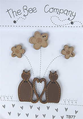 Brown Cats button pack by The Bee Company TB77