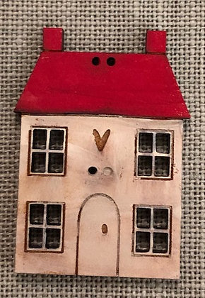 House Squatters Red Roof Button by Theodora Cleave