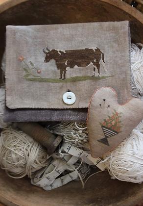 Brown Cow Sampler Bag & Pinkeep by Stacy Nash Primitives