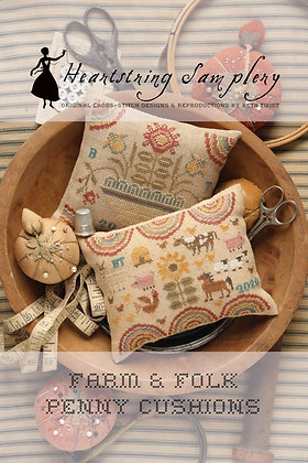 Farm & Folk Penny Cushions by Heartstring Samplery
