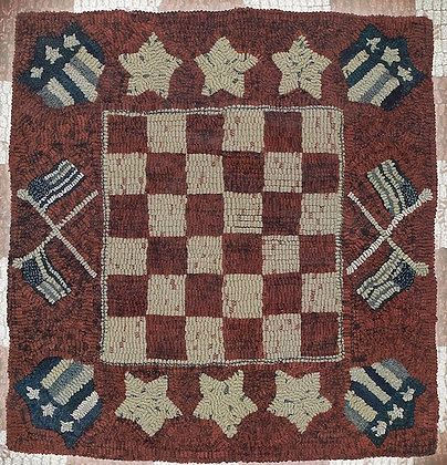 CATS Patriotic Checkers HOOKED RUG PATTERN by Minnick and Simpson