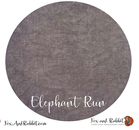 36 Count Elephant Run Linen Fat Quarter Cut by Fox & Rabbit Designs