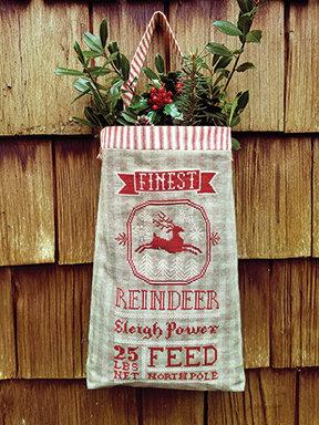 Reindeer Feed Sack by Carriage House Samplings