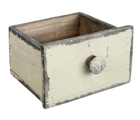 Antique Grey (Beige) Wood Drawer