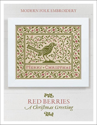Red Berries: A Christmas Greeting by Modern Folk Embroidery