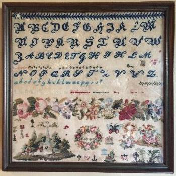 Band of Roses 1845 Antique Sampler by Cross Stitch Antiques