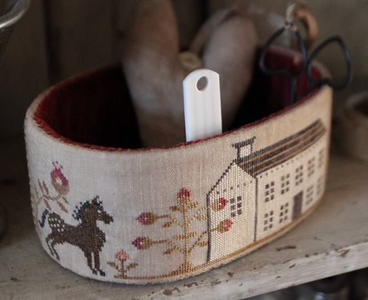 Primrose Farm Sewing Basket & Heart Pinkeep by Stacy Nash Primitives