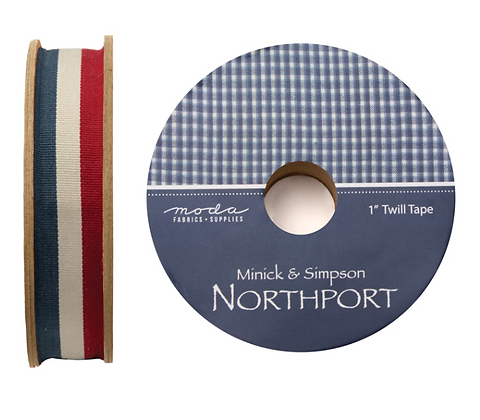 "Patriotic Bright 1"" Northport Twill Tape by Minnick & Simpson/Moda"