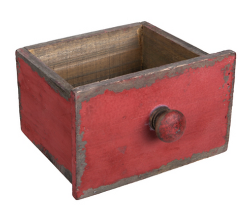 Antique Red Wood Drawer