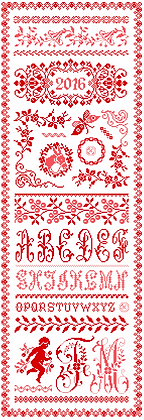 Flora's Red Sampler by Marjorie Massey RC47